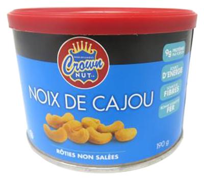 CG5034 : Crown nut CG5034 : Nuts and Seeds - Peanuts - Cashews Unsalted CROWN NUT, CASHEWS unsalted, 12 x 190g