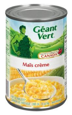 CL47 : Green giant CL47 : Preserves and jars - Vegetables - Creme Style Corn GREEN GIANT,CREME STYLE CORN,9X398ML