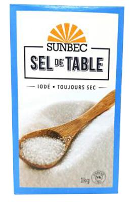 E1 : Sunbec E1 : Condiments - Salt - Table Salt SUNBEC, TABLE SALT, 24X1KG
